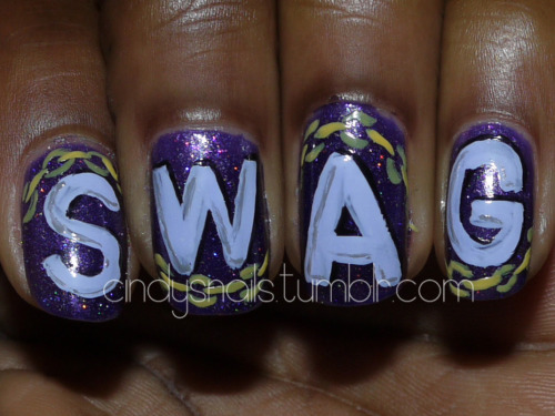 cindysnails:  SWAG nails, by request!  I must admit.. this is flyy.