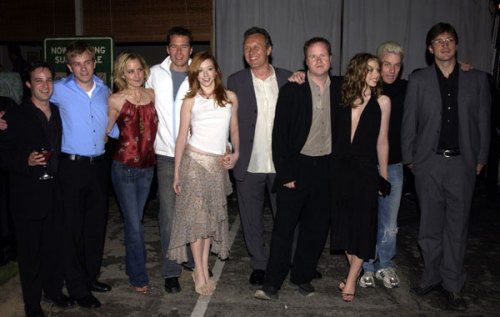 """Buffy The Vampire Slayer"" Wrap Party  On April 18, 2003 Fox held a wrap party for the cast, guest stars, and crew at Miauhaus on La Brea Avenue here in Los Angeles. (L-R) Danny Strong, Tom Lenk, Emma Caulfield, Alexis Denisof, Alyson Hannigan, Anthony Stewart, Joss Whedon, Michelle Trachtenberg, James Marsters, and Nathan Fillion.   NATHAN WITH GLASSESS!!!!!!!!!!!!!!!!!!!!!!!!!!!!!!!!!!!!! LSDAKJFLSDAJFSDFL;KASDFKSLDKF;SDAFS;FLKALASKDFJLSADKJFLAKSDJFL"