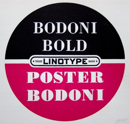 Bodoni Bold Linotype. Via Depression Press.