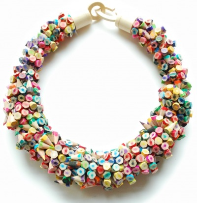 Iris Tsante necklace of colored pencil bits. Gorgeous! (via ShareSomeCandy)