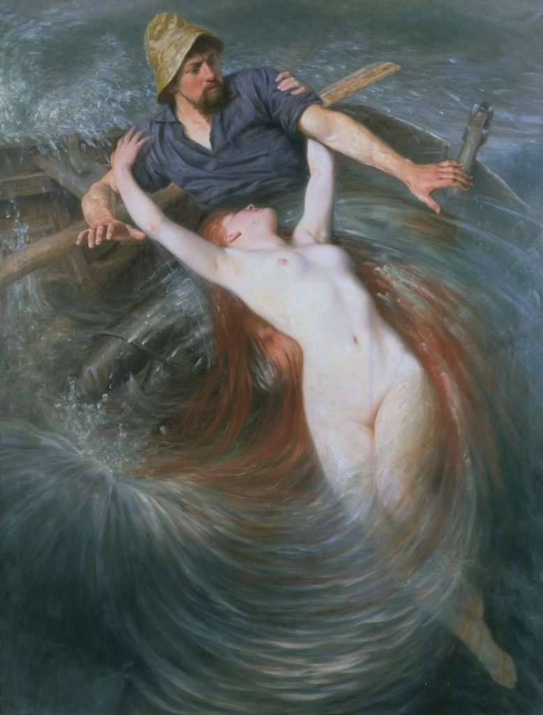 peril:  The Fisherman and The Siren, oil on canvas | artwork by Knut Ekwall