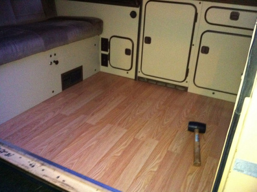 We put wood floors in the westy.  More pictures and details soon