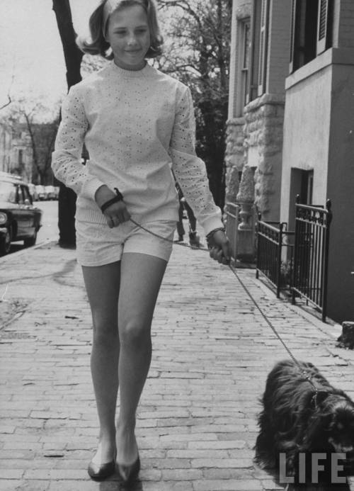 Teen Walking Her Dog in D.C. 1962
