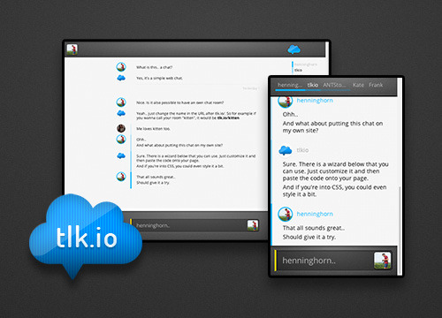 tlk.io is a simple web chat. The idea was to create an open chat without having to signup or login. Chat channels are owner-free and you can invite new people by sharing the URL. The coding is done by the great @antstorm, I did the design. It's just a start, there're lots of ideas how it could get improved. But for now.. Happy tlk.ing..! Update: We added an option to login with Twitter. This will add avatars and users identities are more clear.