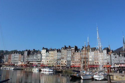 Beautiful buildings along the port of Honfleur. In Normandy, France.