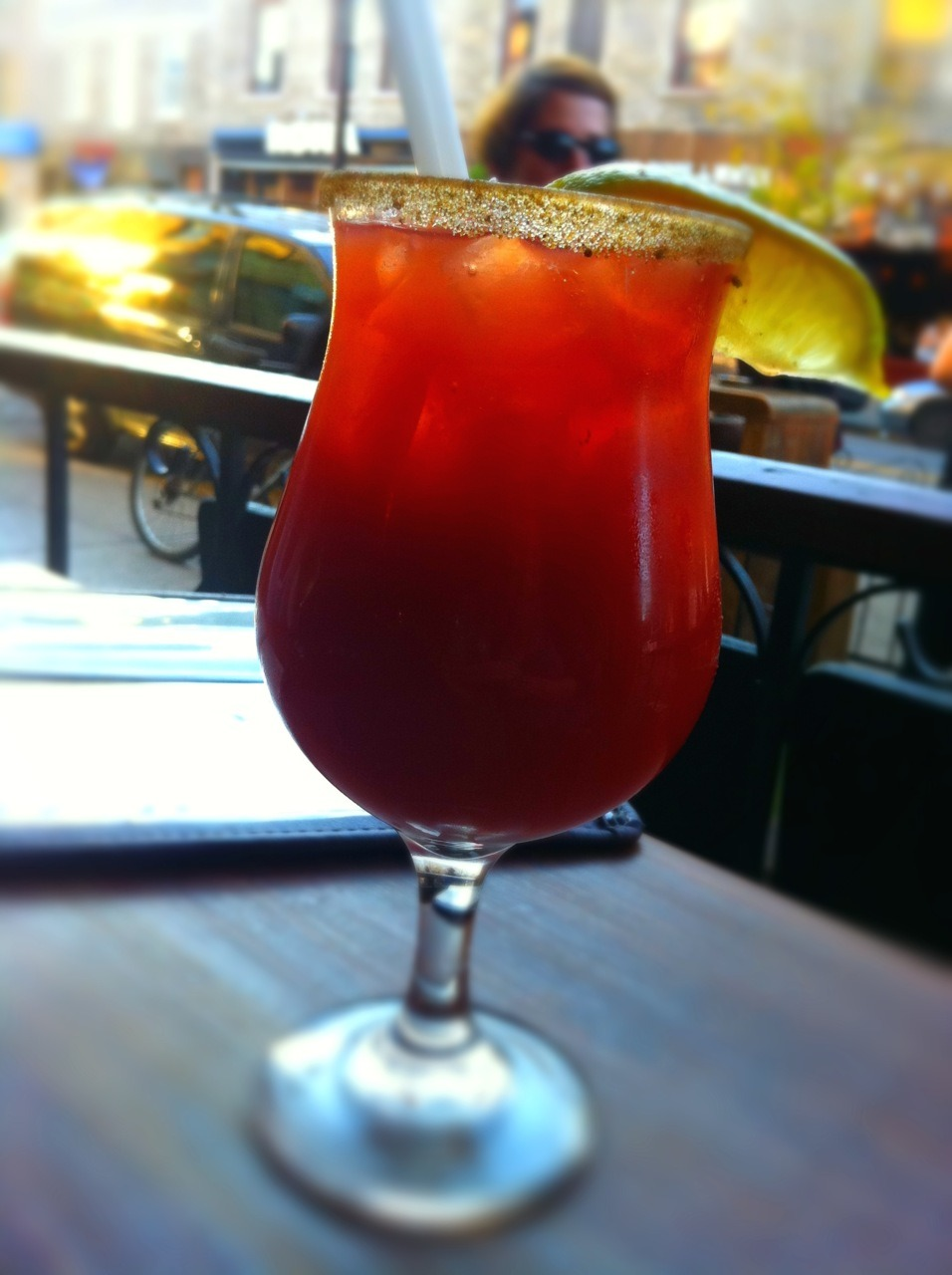 Bloody Caesar @ Barraca Rhumerie 1134, Mont-Royal East, Montreal 7/10 Notes: The regular Bloody Caesar was good. Then the bartender add few olives in it and a sip of olive juice. It was much better. I took 3 of them. Not proud. But I did it for research.