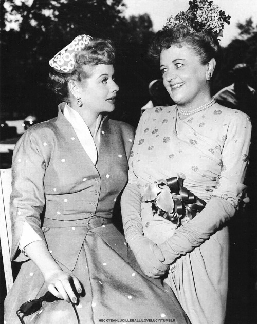 Scan: Lucille Ball on the set of The Long, Long Trailer with Gladys Hurlbut (1953)