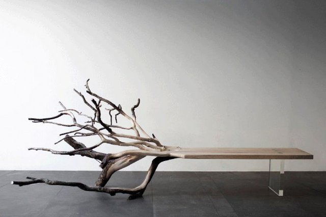 micasaessucasa:  Fallen Tree Bench  — i feel like a cement block.. or stones would be better than that clear plastic..