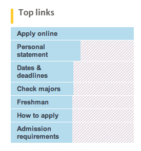 "University of California - Uses a unique way to list their ""top links"", what I am assuming are their most popular pages. It doesn't just list them but uses a graph to show their relative popularity."