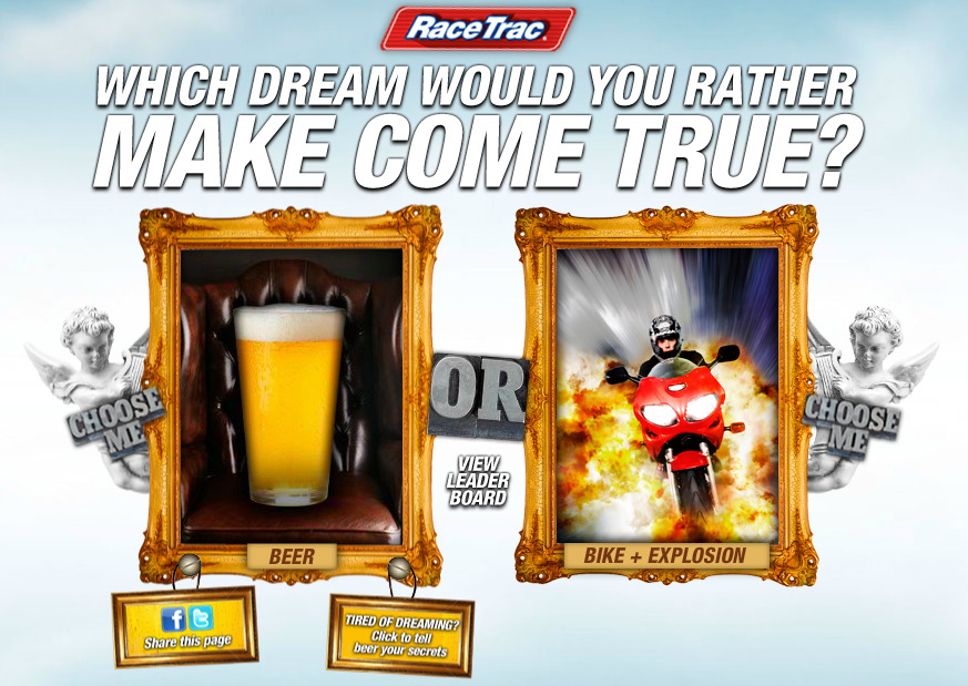 RaceTrac Beer Microsite This little site, and the next one, were created for a campaign meant to promote the fact that RaceTrac carries beer. No discounts. No promotion of any kind. Just, they have it. They bought banner ads. Banner ads have to click through to something. These were those somethings.