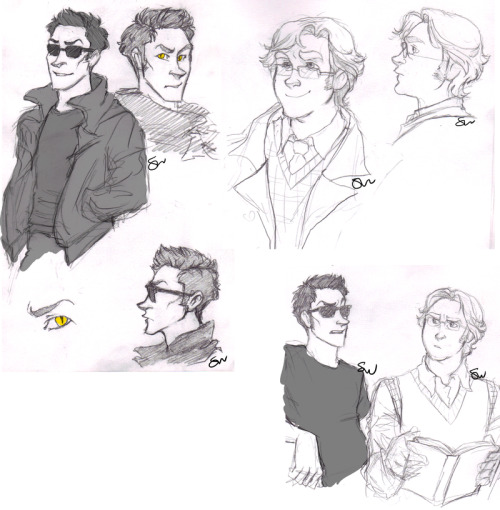 evalilith:  Good Omens:Crowley + Az sketches by AndLatitude     Good things to wake up to on my dash: this is one of them.