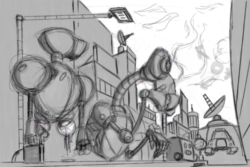 """Robots Hate Mondays too..""(WIP) a piece that I am working on for an artbook anthology… More coming…. http://murdockink.tumblr.com/http://moebocop.deviantart.com/http://twitter.com/mauricemurdock"