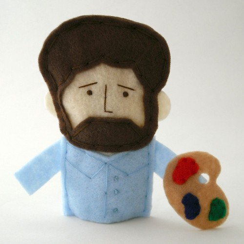 Bob Ross (Joy of Painting) felt finger puppet