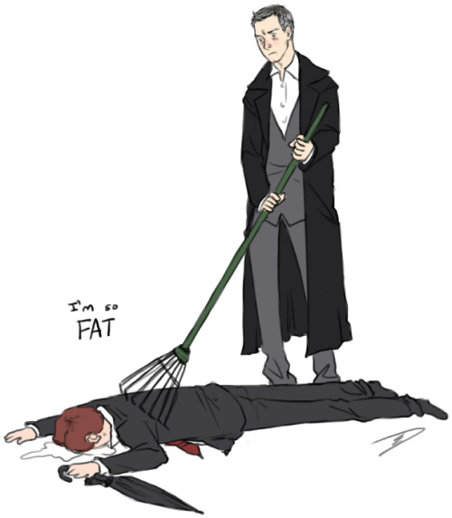 reapersun:  i don't even c-o-u-r-t-n-e-y: lestrade raking mycroft in comfortwhos-crashing-now: LESTRADE  RAKING MYCROFTS BACK WITH A RAKE TO COMFORT TO HIM ABOUT HIS WEIGHT