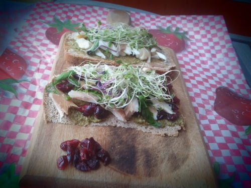 Cranberries+Trout+Sprouts Basis: homemade bread Spread on it: basil pesto with rucola  On top: fresh sprouts, dried cranberries and chopped parsley Protein: smoked trout fish Pictures taken with Samsung Galaxy S