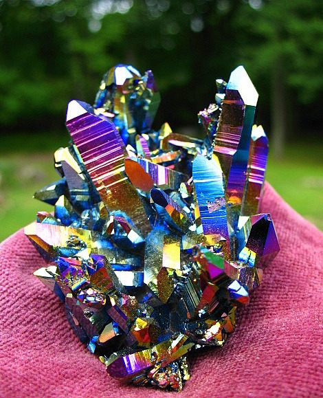 "eclipsis-lunae:  Titanium Rainbow Flame Aura Quartz Crystal Cluster  ""I'll take 'crazy mineral or Sailormoon attack name?' for two hundred, Alex."""