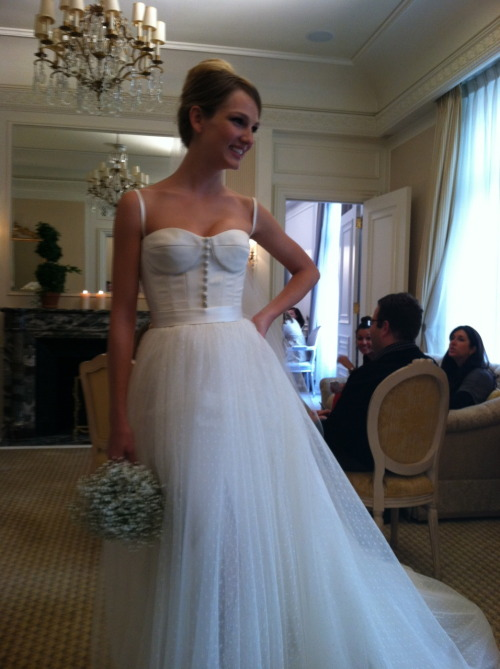 Our favorite gown at Romona Keveza. This bustier is so chic. And the point d'esprit skirt… wow.