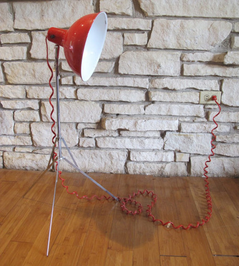 Cool Red Spotlight with telephone-like wire