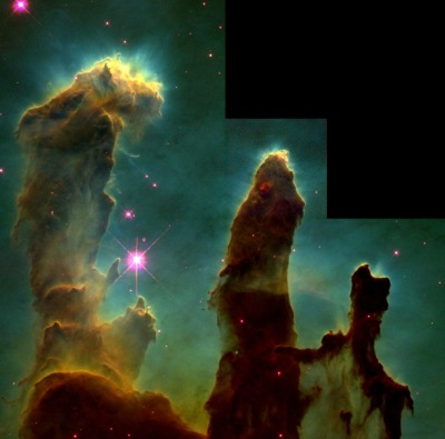 fuckyeahtheuniverse:  The Pillars of Creation no longer exist. In 2007, the astronomers  announced that they were destroyed about 6,000 years ago by the shock wave from a supernova.  Because of the limited speed of light,  the shock wave's approach to the pillars can currently be seen from  Earth, but their actual destruction will not be visible for another millennium.