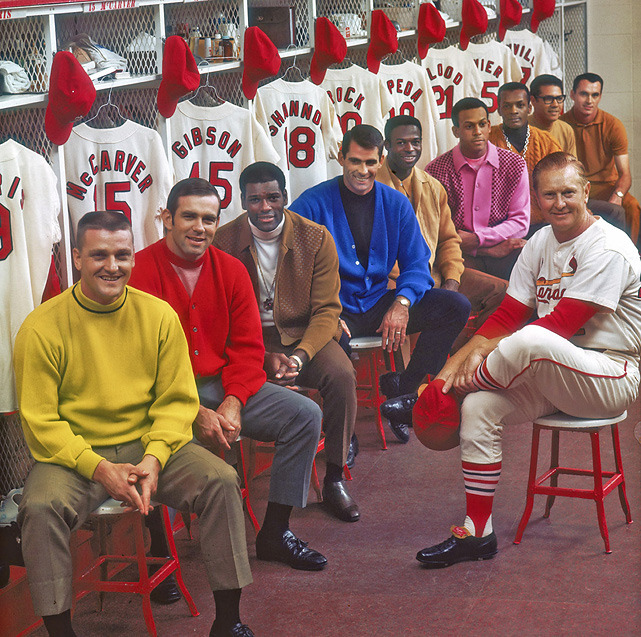 Members of the 1968 St. Louis Cardinals including Roger Maris, Tim McCarver, Bob Gibson, Mike Shannon, Lou Brock, Orlando Cepeda, Curt Flood, Julian Javier, Dal Maxvill and manager Red Schoendienst, pose in the team's locker room. St. Louis will face the Rangers in the 2011 World Series. (Neil Leifer/SI)LEMIRE: Underdog Cardinals knock out Brewers, advance to World Series VIDEO: Game 6 highlights | Pujols interview | Cardinals celebrate pennant