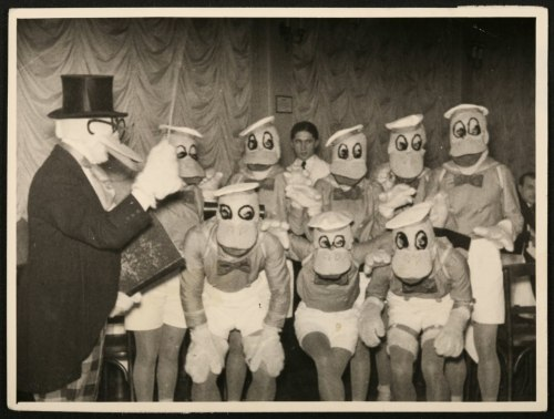 "Disney cosplay in the 1930s was pretty horrifying Way before there even was such a thing as ""cosplay"", and it was ""just some people dressing up in costumes because it's fun"", these gents in 1930s Serbia made a paddling of Donald Duck costumes from whatever was lying around. It's decent handiwork for the time, but it's a little horrifying these days. Via"