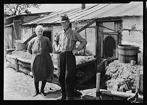 Mr. and Mrs. Thompson standing in front of their log and peat cabin. Thompson reckoned that he had had three crops out of nine on the land. Necedah project, Wisconsin.  Carter, Paul, photographer.  CREATED/PUBLISHED 1936 July.