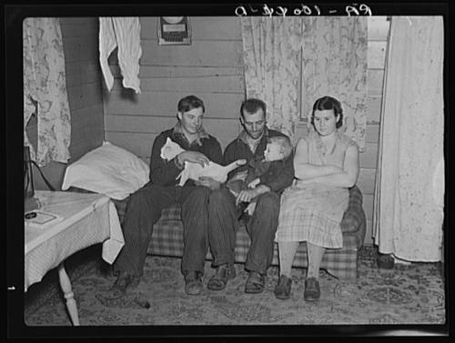 William Helmke, wife, baby, and brother live in one-room shack on ninety acre farm owned by lawyer. Iowa. Lee, Russell, 1903-1986, photographer. CREATED/PUBLISHED 1936 Dec.
