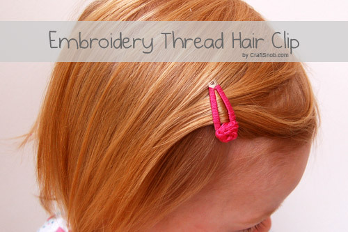 (via Embroidery Thread Hair Clip | Craft Snob)