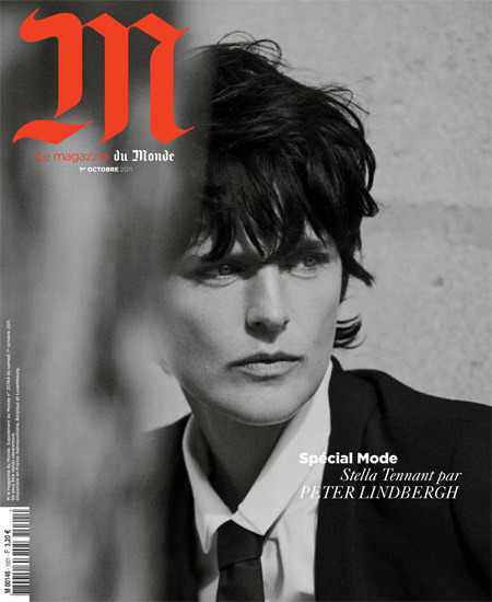 Supermodel Stella Tennant stuns with her androgynous look on Le Monde's October 2011 cover photographed by Peter Lindbergh.
