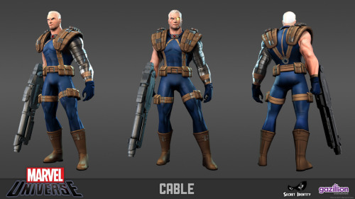 CABLE! He'll be playable in our upcoming Marvel Universe MMO. LOOK AT THAT GUN. via mmmsociety:  Were you not able to attend New York Comic Con? Don't worry, here is the new character we announced!