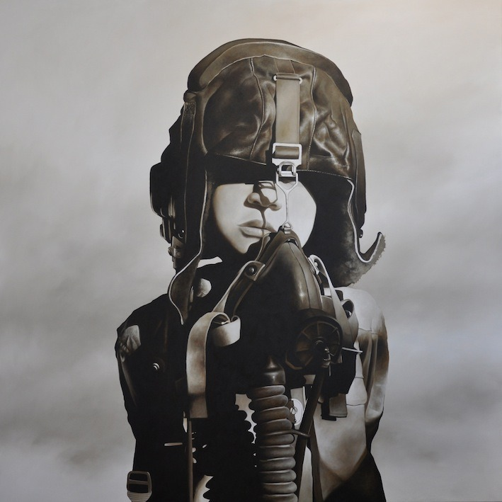 Give 'Em Hell, Kid. Artist Michael Peck Fighter Pilot #1 Oil on linen