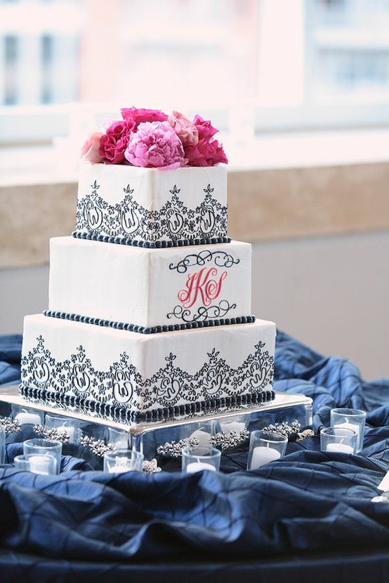 I love monogrammed cakes with initials.  I think it adds a special touch of personalization.