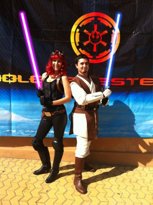 My girlfriend and me cosplaying at JEHES in Seville (Spain).