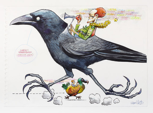 lienatik:  Ghosts of Gone Birds - Hawaiian Crow Jamie  Hewlett. 'Crows feature quite a lot in Jamie Hewlett's work - think of  the Gorillaz videos. This strange guy driving the Hawaiian crow as his  vehicle is so typical of Jamie's mind, so brilliantly madcap, carried  off with style, skill and panache'