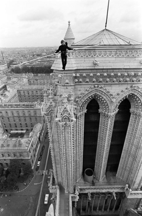 cordisre:  Philippe Petit on the wire (Notre-Dame Cathedral in Paris, 1971)  Respect.