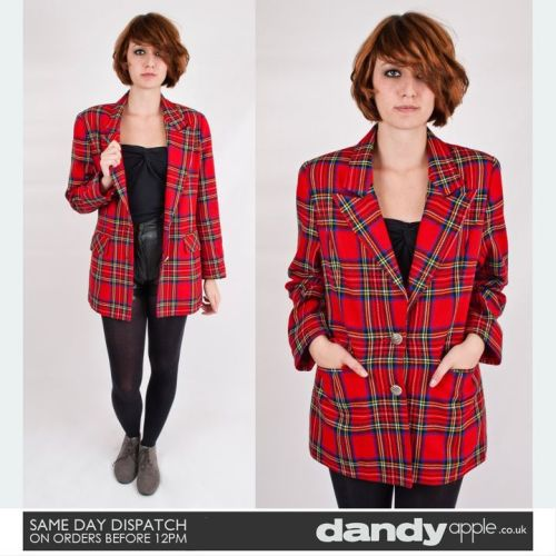 "Newly listed @ www.dandyapple.co.uk Link: http://bit.ly/qQN8BO Womens Vintage Retro Red & Blue Tartan Check Patterned Short Blazer Jacket *   Featuring a red and blue tartan check pattern, with yellow and white trim. *   Fastens with two painted gold buttons, buttoning up to v-neck collar. *   Two hip pockets with fold over flaps. Button up cuffs. *   Fully lined inside with a red nylon material. *   Label reads; ""City Hot"". *   Sam is a size 8, 5ft 6 inches tall. Size: 10 Material: Wool w/ Nylon Lining Condition: No visible faults, marks or stains. Great used vintage condition."