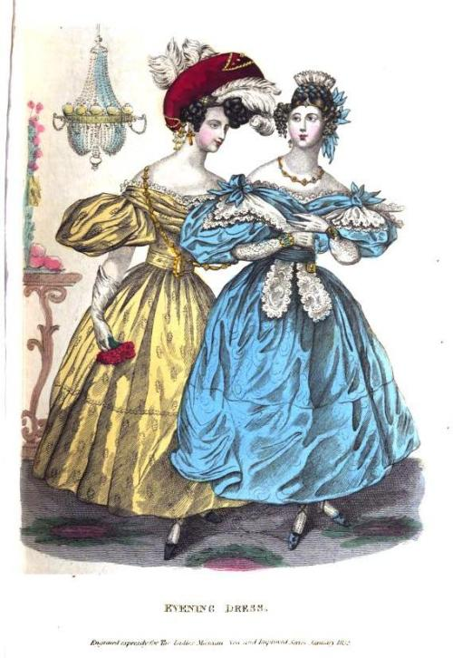 Lady's Museum, Evening Dress, January 1832.  At least the colors are pretty!