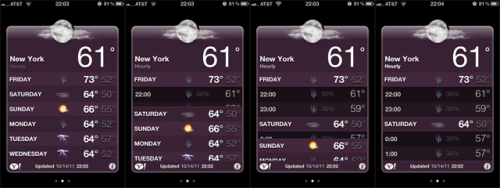 littlebigdetails:  Weather app - Swiping down in iOS 5's weather app reveals hourly forecasts. /via David