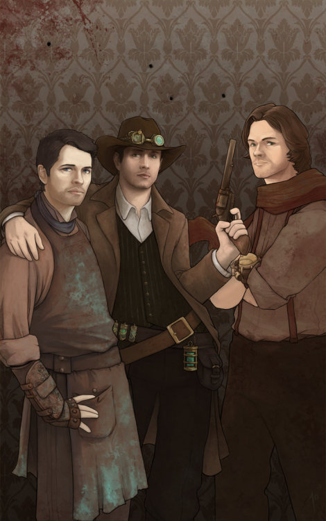 heysammy:  teamfreewill-fanart:  Steam Powered Supernatural by *JoannaJohnen  EXCUSE ME WHILE I DEAL WITH A MASSIVE FUCKING STEAMPUNK BONER.