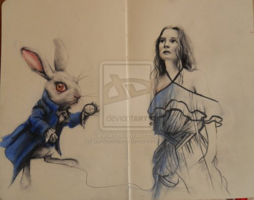 Alice and the White Rabbit by ~ Goldy petitpois
