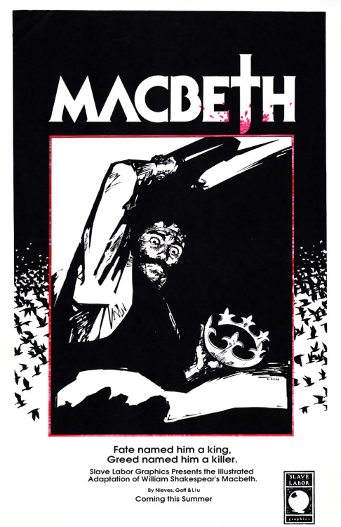 Promotional poster for an unpublished adaptation of Shakespeare's Macbeth by writers Rafael Nieves & Cindy Goff with art by Liu Hui Han, early 1990's.Special thanks to Rafael Nieves for information assistance.