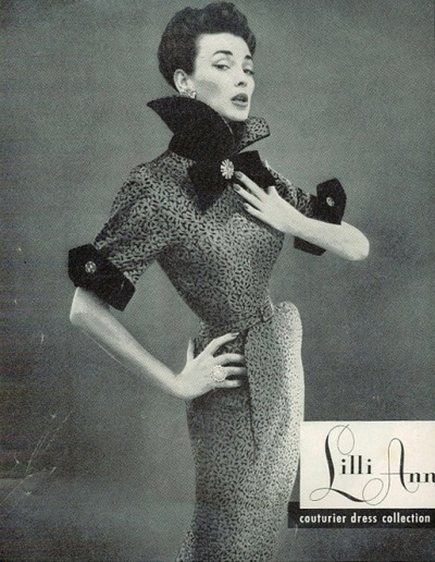 theniftyfifties:  Lilli Ann couturier dress collection - 1950s advertisement. good ole' corsets :)