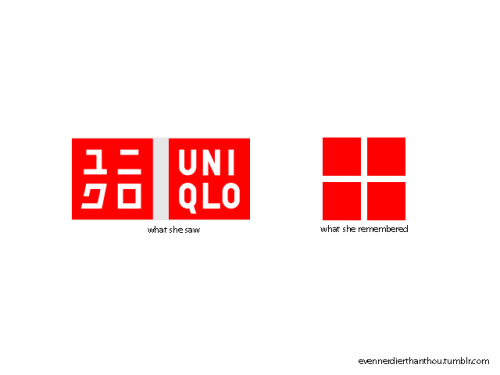 "One of my roommates was describing the Uniqlo logo (which has been all over New York for the past couple months). She described it as ""The logo with the 4 red squares"". I'm no graphic designer (or neurologist), but this statement made me realize how different real vs. remembered images are. Only certain aspects of an image make it into long-term memory - the general composition, the overall color, maybe the mood. Graphic designers need to test their images for sticking power."