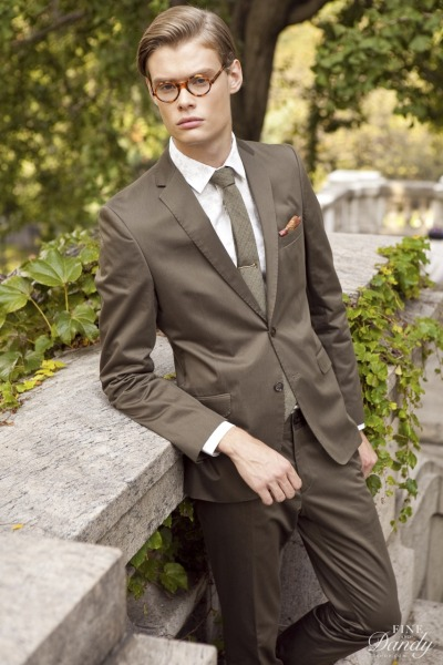 From the FineAndDandyShop.com new lookbook.Herringbone Wool Tie, Autumn Print Handkerchief, Gold Ax Tie Bar; suit, shirt: Zara. Photo: Ken Pao.