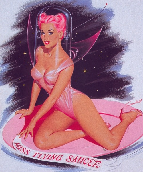 theniftyfifties:  Miss Flying Saucer pinup art by Bill Randall