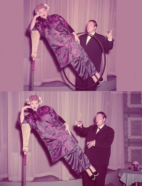 "Magic trick: Lucy being levitated by Orson Welles. Featured in the I Love Lucy episode ""Lucy meets Orson Welles."""
