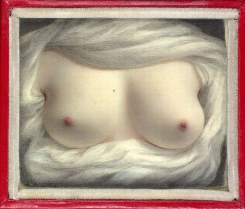 Beauty Revealed, 1828, by Sarah Goodridge. Goodridge was a self-taught artist in Boston when Daniel Webster sat for a portrait by her early in his career. Despite being a married man, a father, and an ambitious politician, a romance blossomed between them that lasted twenty-five years. Beauty Revealed was a self-portrait painted for him in Sarah's fortieth year, following the death of his wife. This painting is a miniature about the size of a Post-it Note. It was found among Webster's possessions when he died in 1852. Sarah Goodridge died the following year. Read more of their story at http://twonerdyhistorygirls.blogspot.com/2011/04/shocking-beauty-revealed-sarah.html
