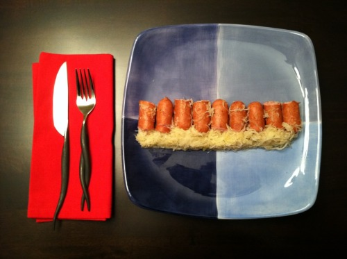 Tonight's lazy-ass dinner — sausage 'n' kraut. Sehr gut.