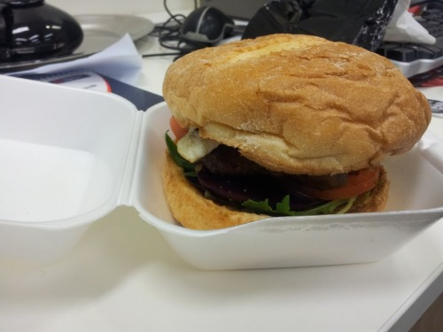Works Burger from Pure Taste in Post Office Square, Brisbane. 18 Oct 2011. Take-away burgers. One thing is for sure, Pure Taste certainly looks the name. A clean shop front with a clear separation into three sections each containing delicious, Salads + sandwiches, greasy + baked foods and kebabs. Clear cut they have tailored their store to feed the Corporate masses. Don't judge it; sometimes you can strike gold with take-away shops and this one happens to be the best place available in Post Office Square. What you get: $7.50 gets you a Works Burger. | $11.50 with chips and a can of drink. Do they offer works burgers? Yes! Chips included? Yes, with combo. Side Salad? No. Drinks? Yes - standard array of cans and bottles. Pre-cut burger? No. Extras? No. Standard, light in flavour, works burger with an interesting soft bun. I'll start with the negatives. Did it fall apart? Yes, but it wasn't too bad as I could still repair it. Did it drip? Yes, but not too badly and the bun didn't end up a soggy mess. Was it delicious? No, it was a standard burger. So what was good about it? Well the bun was soft, but still quite nice. It had all the standards you would expect; tomato, beetroot, lettuce, egg, pineapple, bacon - nothing fancy but nothing is missing - brilliant! The best part about it is that I didn't feel ripped off. $7.50? Sure!  Give it a shot! They're not bad, but the steak sandwich is better. 3/5 stars.