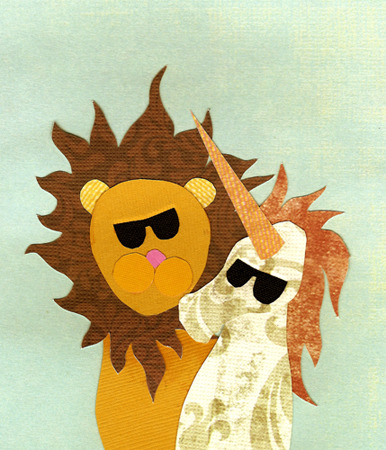 10/18/2011BFFs. Unicorns and lions can be friends, too(cut paper)